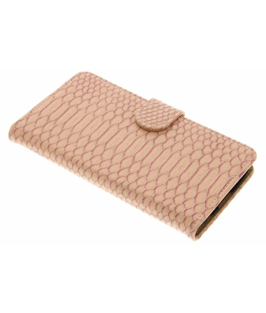 Roze slangen booktype hoes LG K10