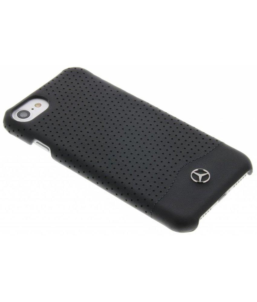 Mercedes-Benz Geperforeerde lederen hardcase iPhone 7 - Zwart
