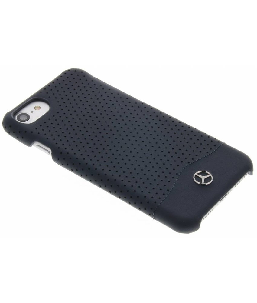 Mercedes-Benz Geperforeerde lederen hardcase iPhone 7 - Donkerblauw
