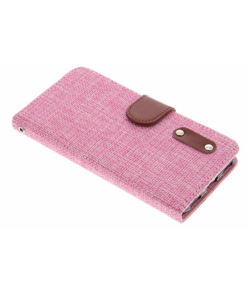 Roze linnen look TPU booktype hoes Huawei Y6