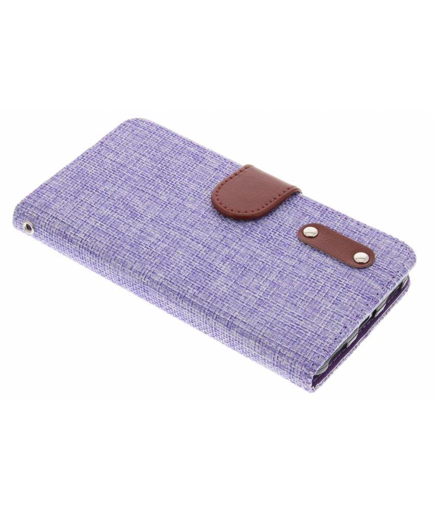 Paars linnen look TPU booktype hoes Huawei Y6