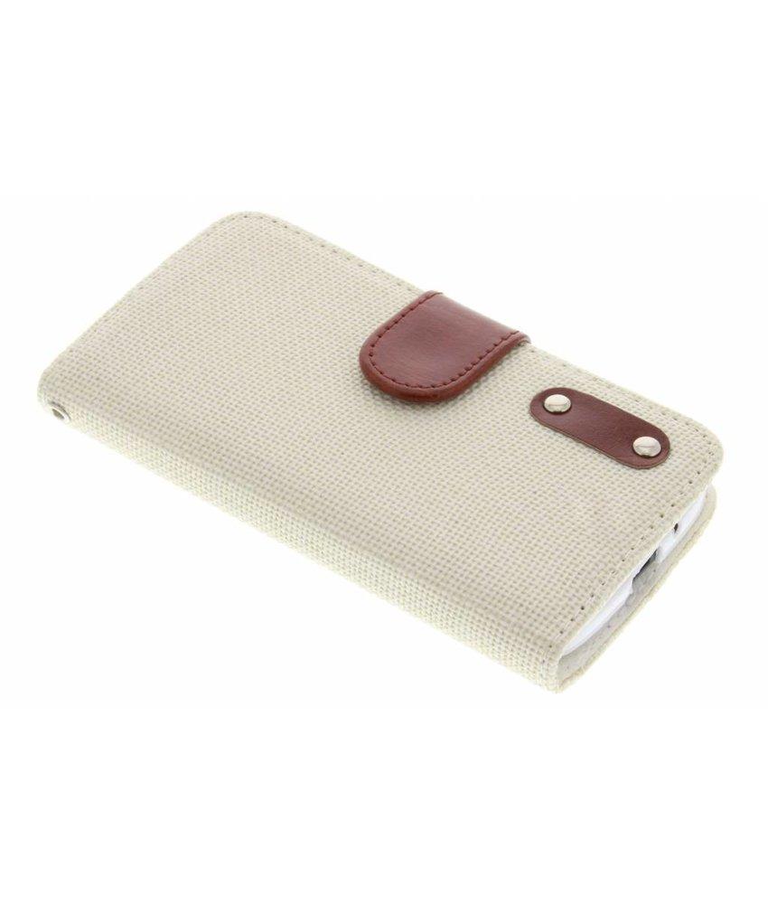 Wit linnen look booktype hoes Motorola Moto G