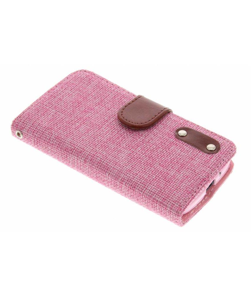 Roze linnen look booktype hoes Motorola Moto G