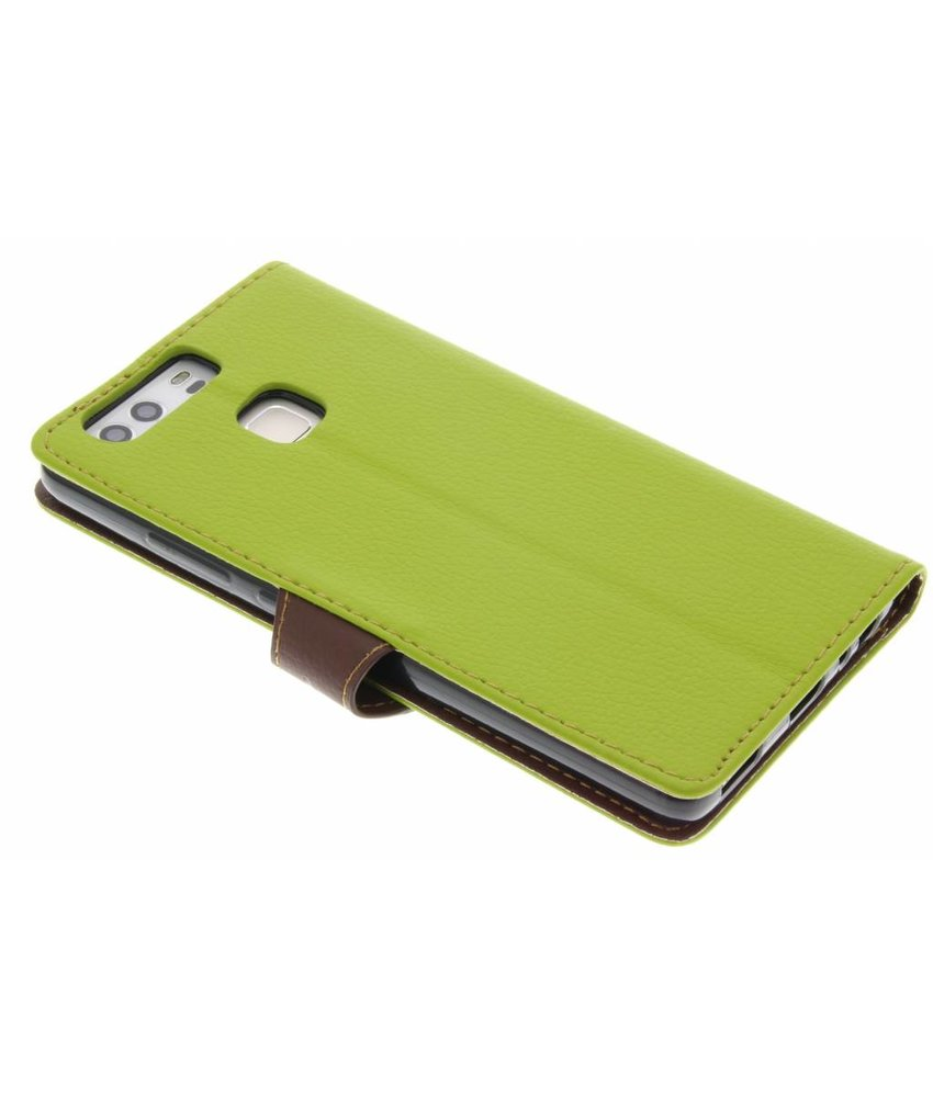 Groen blad design TPU booktype hoes Huawei P9