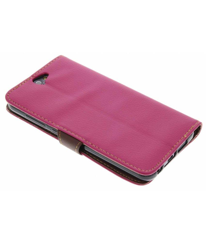 Fuchsia blad design TPU booktype hoes HTC One A9