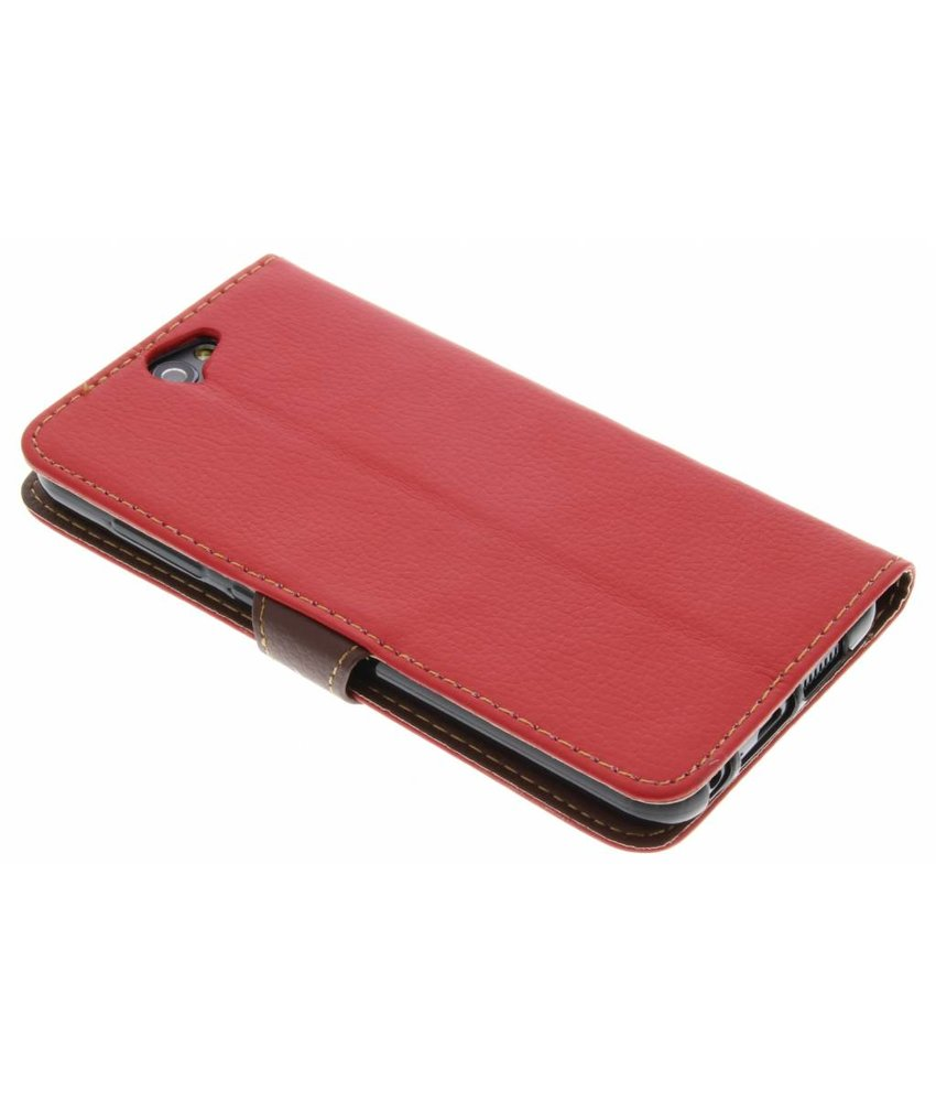 Rood blad design TPU booktype hoes HTC One A9