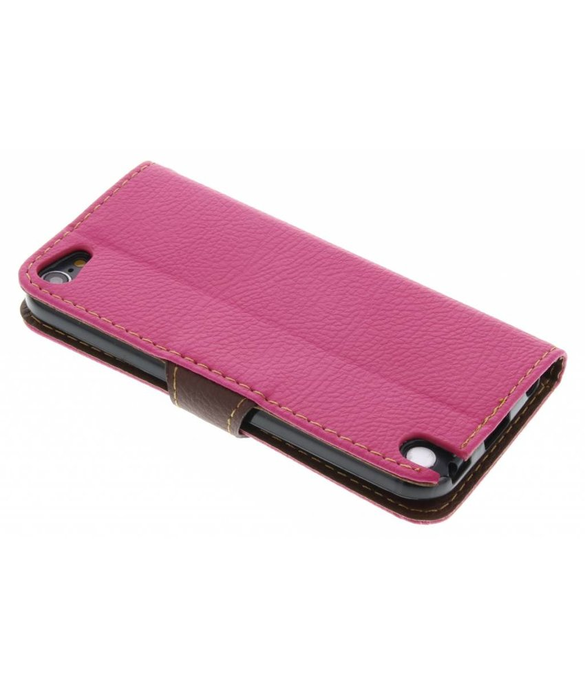 Fuchsia blad design TPU booktype hoes iPod Touch 5g / 6