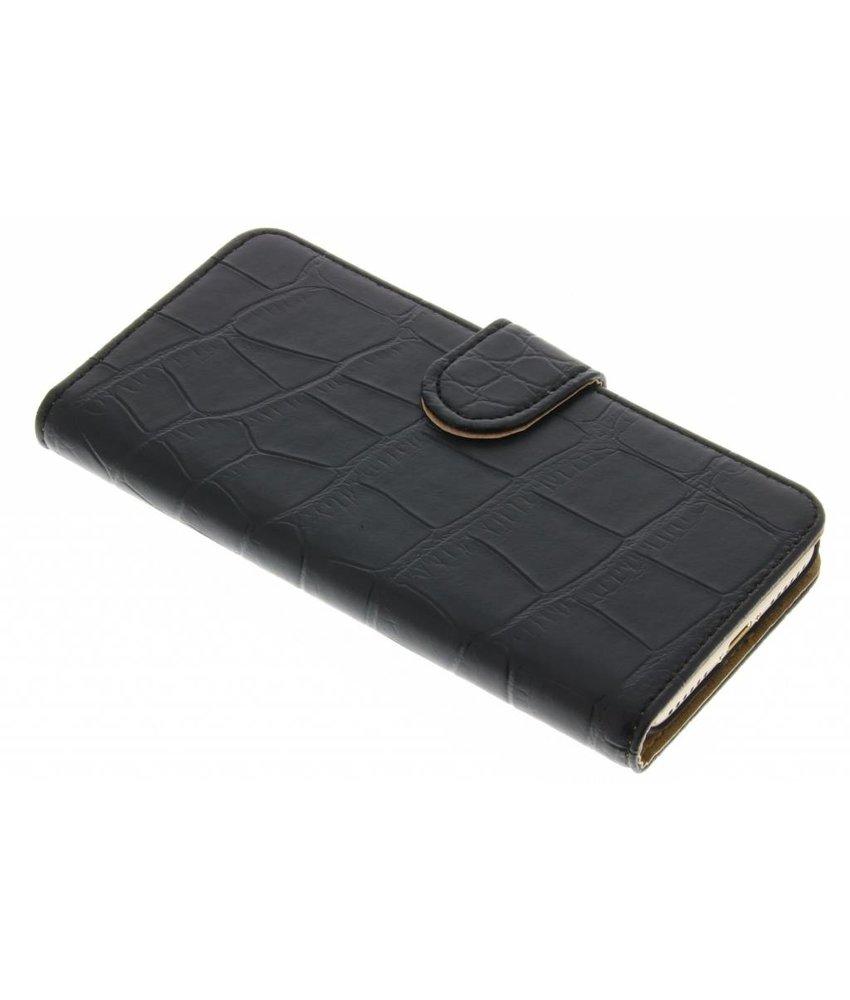 Zwart krokodil booktype hoes iPhone 7