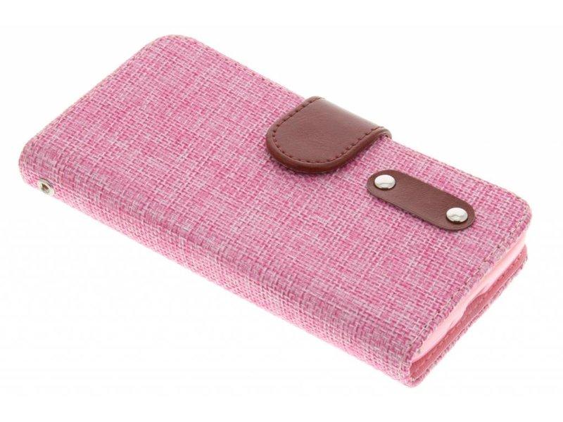 LG L70 hoesje - Roze linnen look TPU