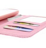 Roze linnen look TPU booktype hoes voor de LG L70