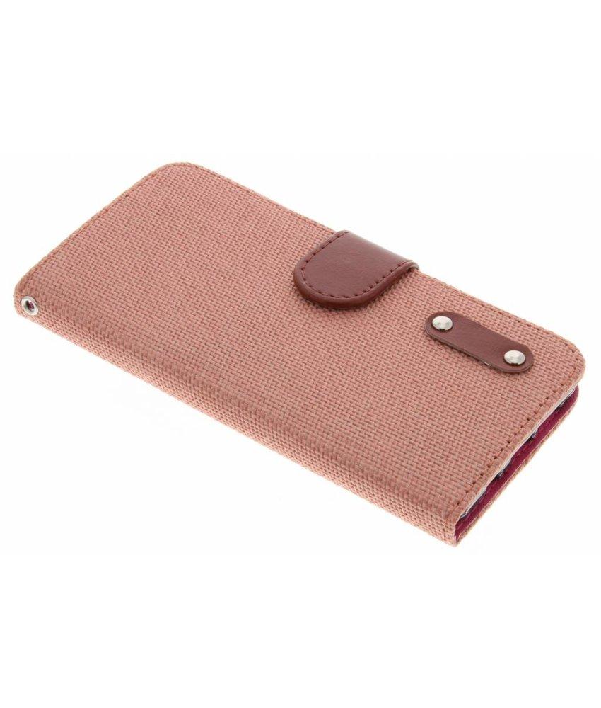 Zalmroze linnen look TPU booktype hoes Samsung Galaxy A5 (2016)