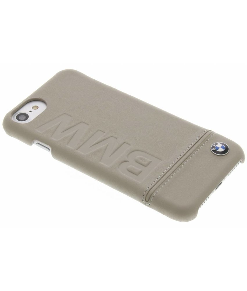 BMW Real Leather Hard Case iPhone 8 / 7 - Taupe