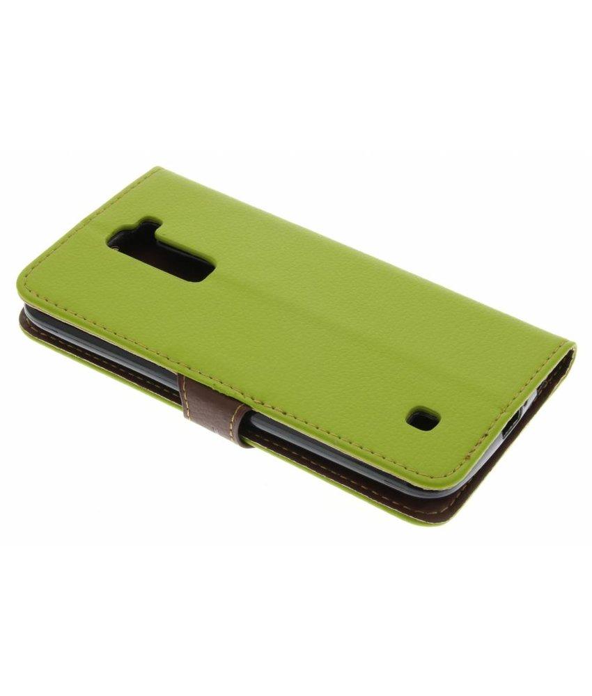 Groen blad design TPU booktype hoes LG K10