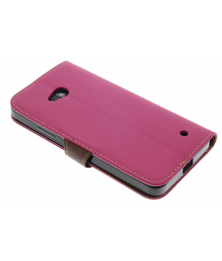 Fuchsia blad design TPU booktype hoes Microsoft Lumia 640
