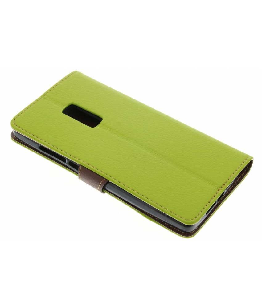 Groen blad design TPU booktype hoes OnePlus 2