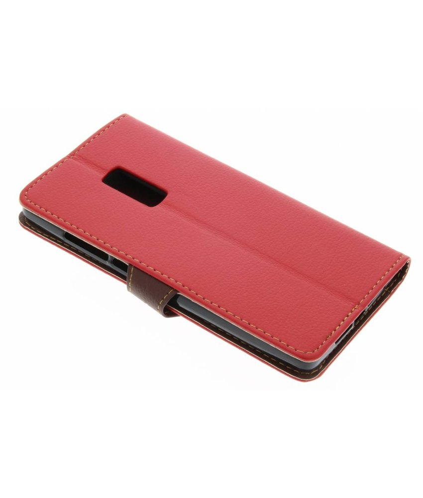 Rood blad design TPU booktype hoes OnePlus 2