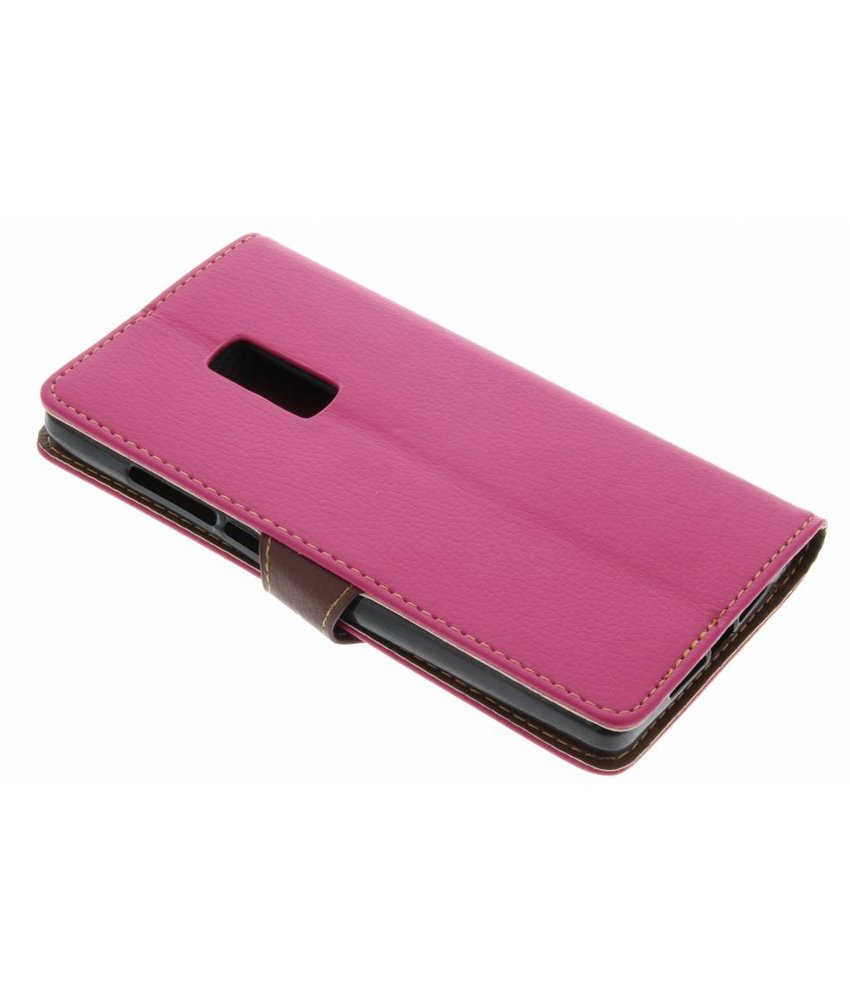 Fuchsia blad design TPU booktype hoes OnePlus 2