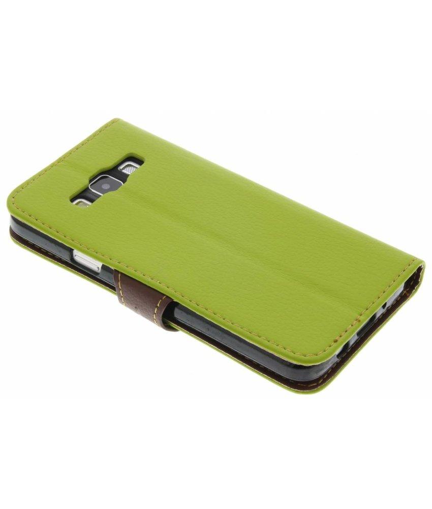 Groen blad design TPU booktype hoes Samsung Galaxy A3