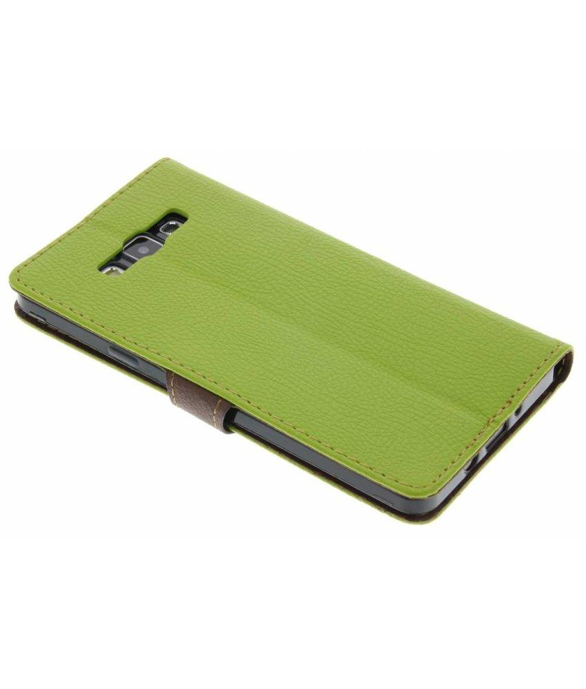 Groen blad design TPU booktype hoes Samsung Galaxy A7