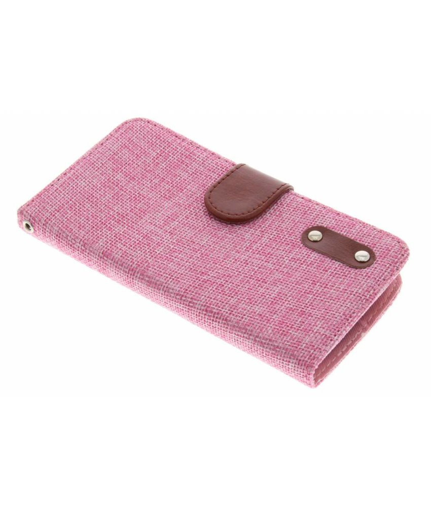 Roze linnen look TPU booktype hoes LG L Bello / L80 Plus