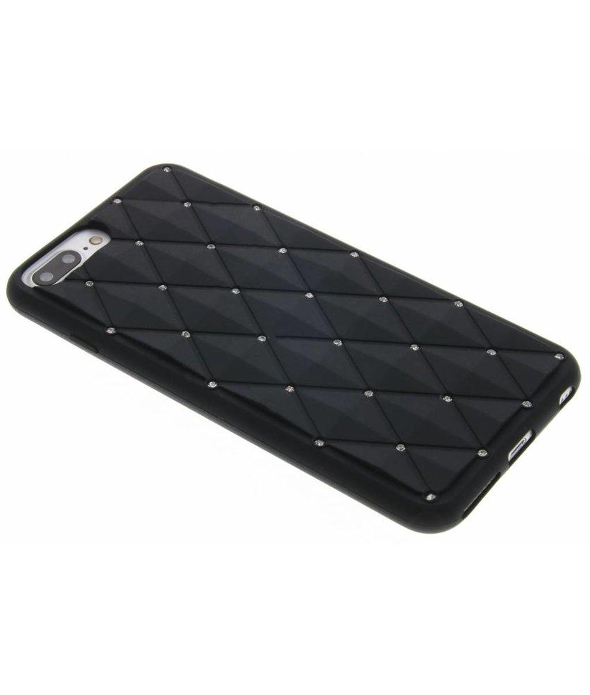 Zwart siliconen hoesje met strass iPhone 8 Plus / 7 Plus