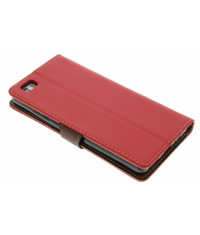 Rood blad design TPU booktype hoes Huawei P8 Lite