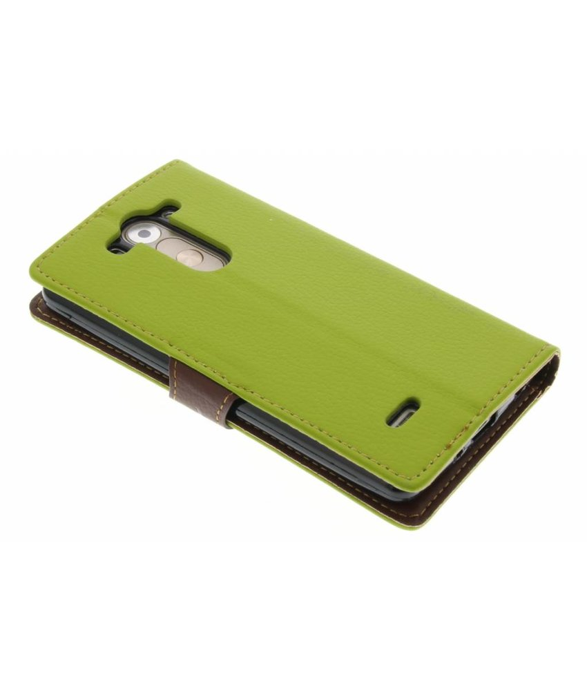 Groen blad design TPU booktype hoes LG G3 S