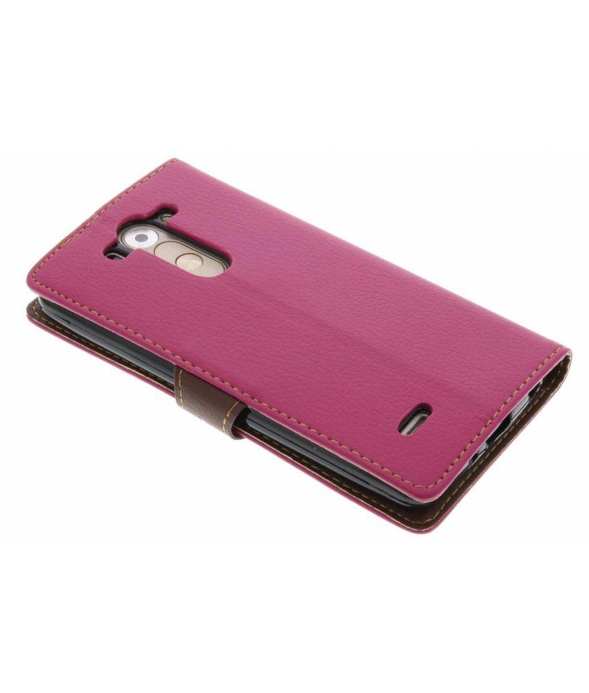 Fuchsia blad design TPU booktype hoes LG G3 S