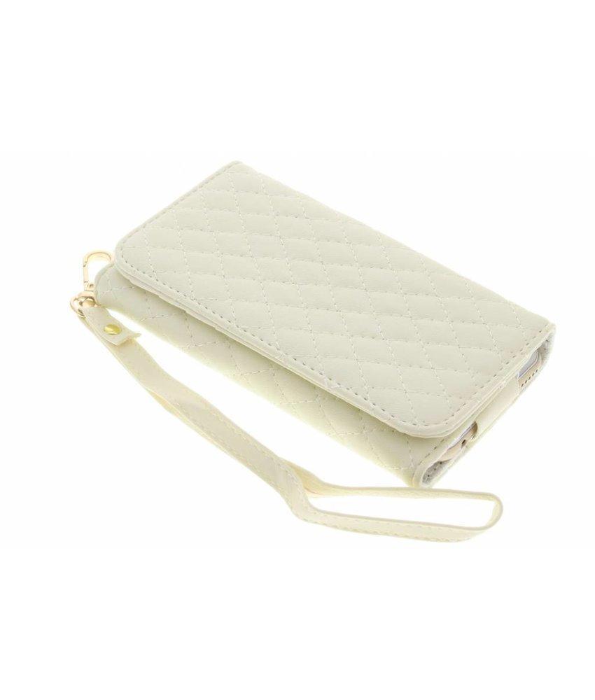 Wit gestikt kunstleder portemonnee telefoonhoesje (klein)