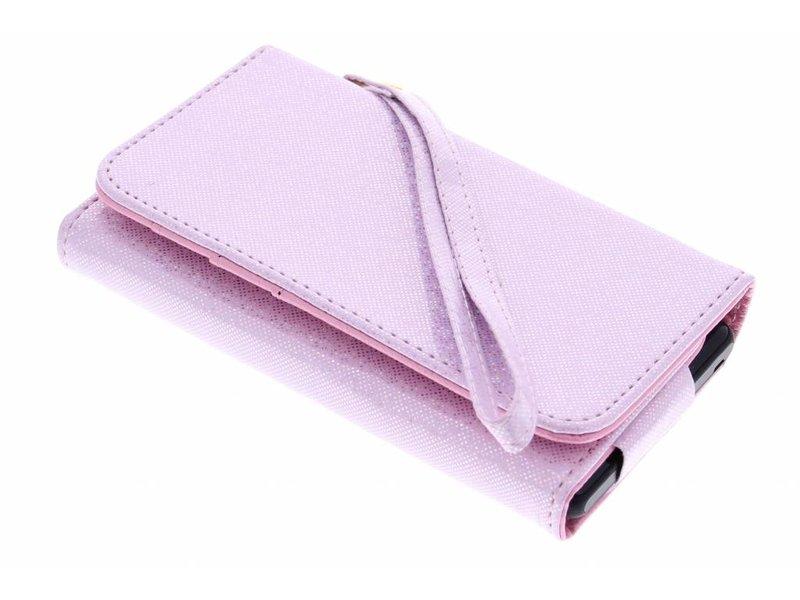 Roze universeel glitter portemonnee hoesje maat M