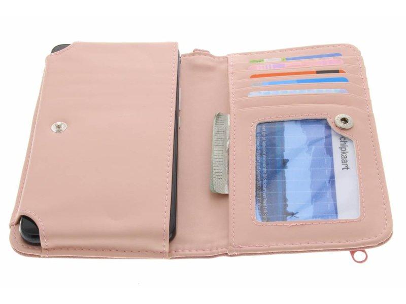 Roze universeel Denium Jeans portemonnee hoesje maat M