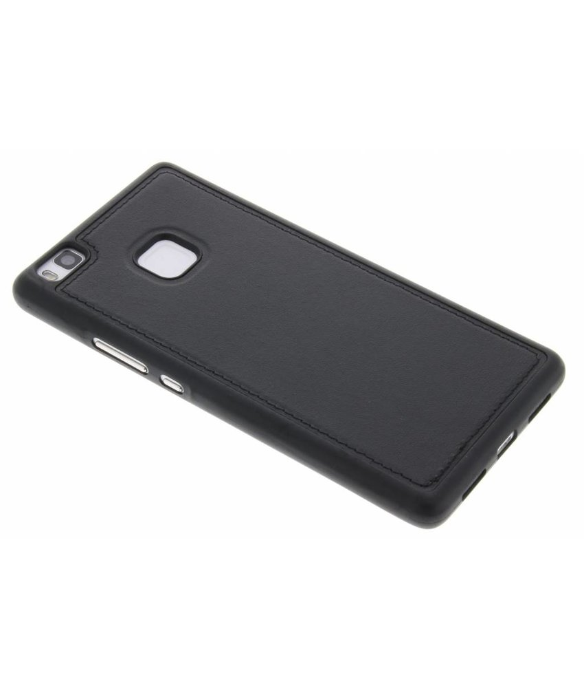Zwart Metallic lederen TPU case Huawei P9 Lite