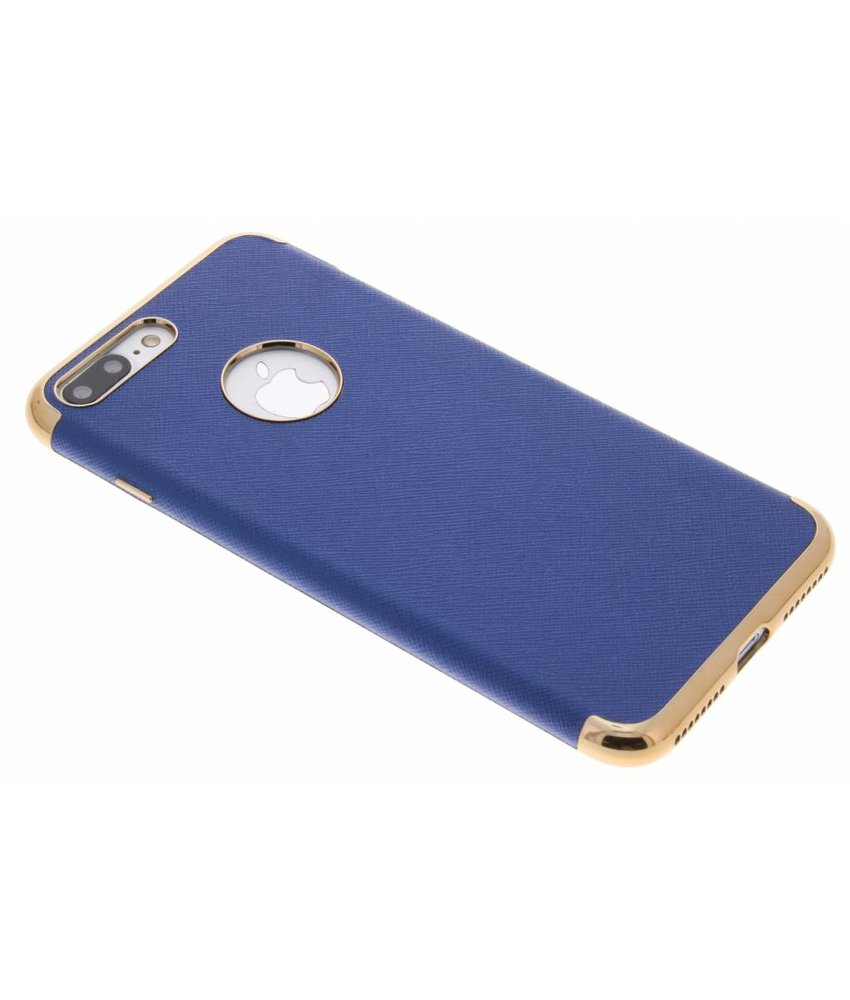 Leder look TPU hoesje met metallic rand iPhone 8 Plus / 7 Plus
