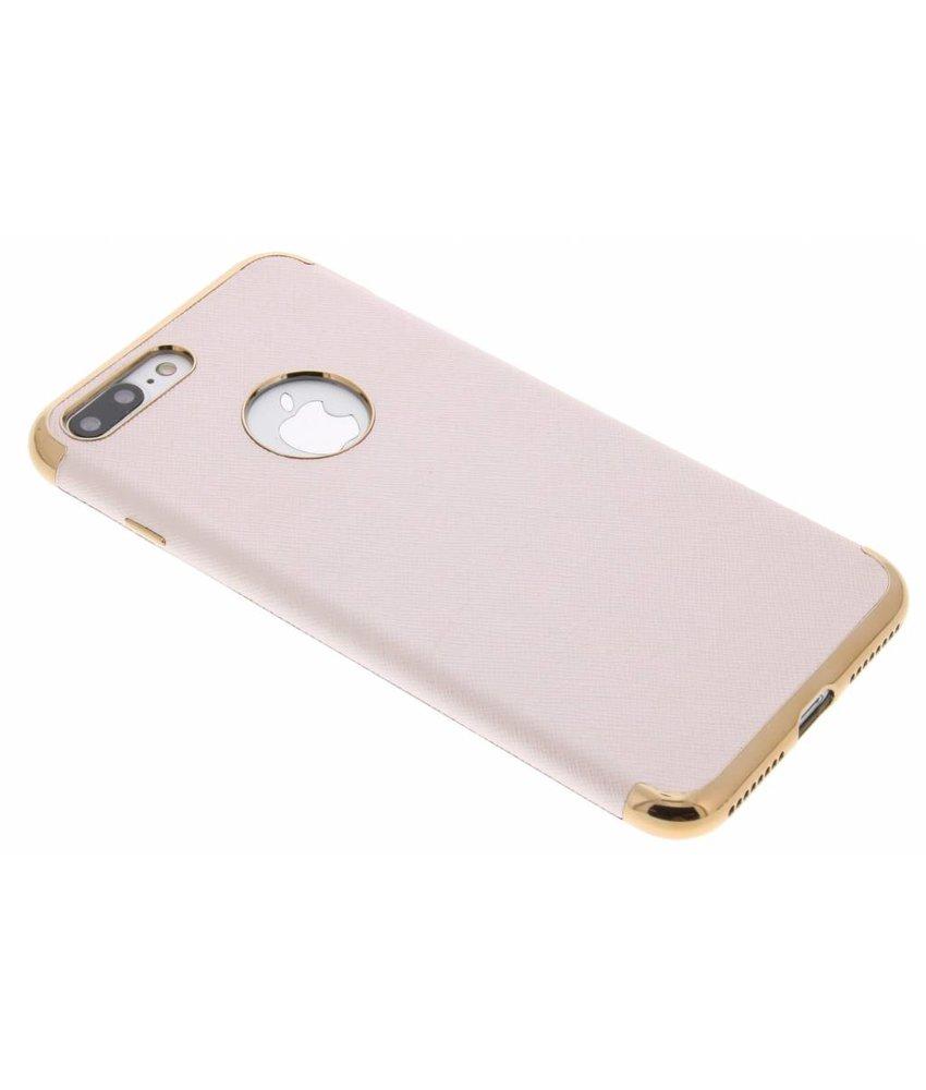 Leder look TPU hoesje met metallic rand iPhone 7 Plus