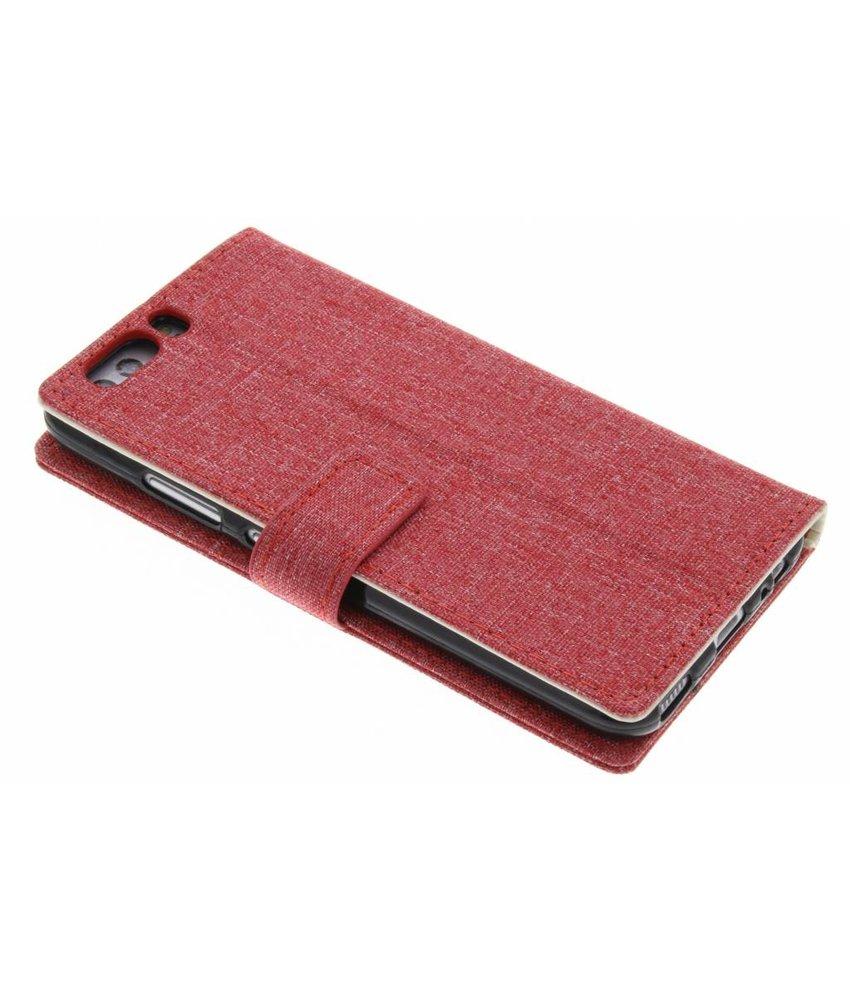 Rood katoen look TPU booktype hoes Huawei P10