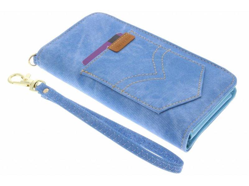 Blauw universeel Denium Jeans portemonnee hoesje maat M