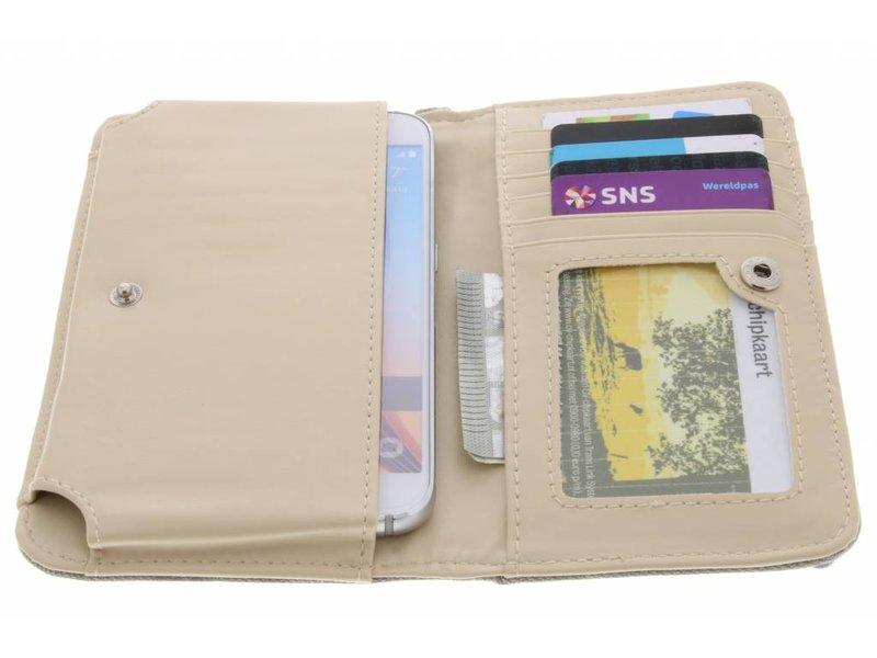 Grijs universeel Denium Jeans portemonnee hoesje maat M