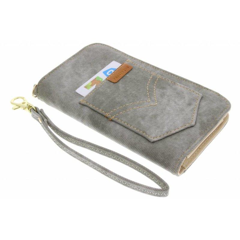 Grijs universeel Denim Jeans portemonnee hoesje maat M