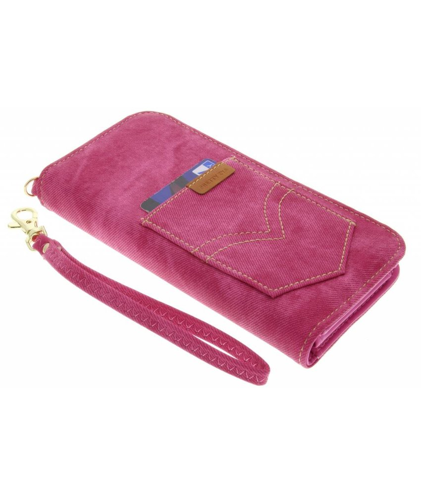 Fuchsia universeel Denim Jeans portemonnee hoesje maat L