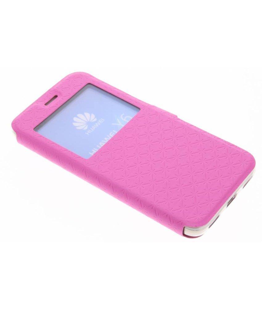 Roze Rhombus hoesje Huawei Y6