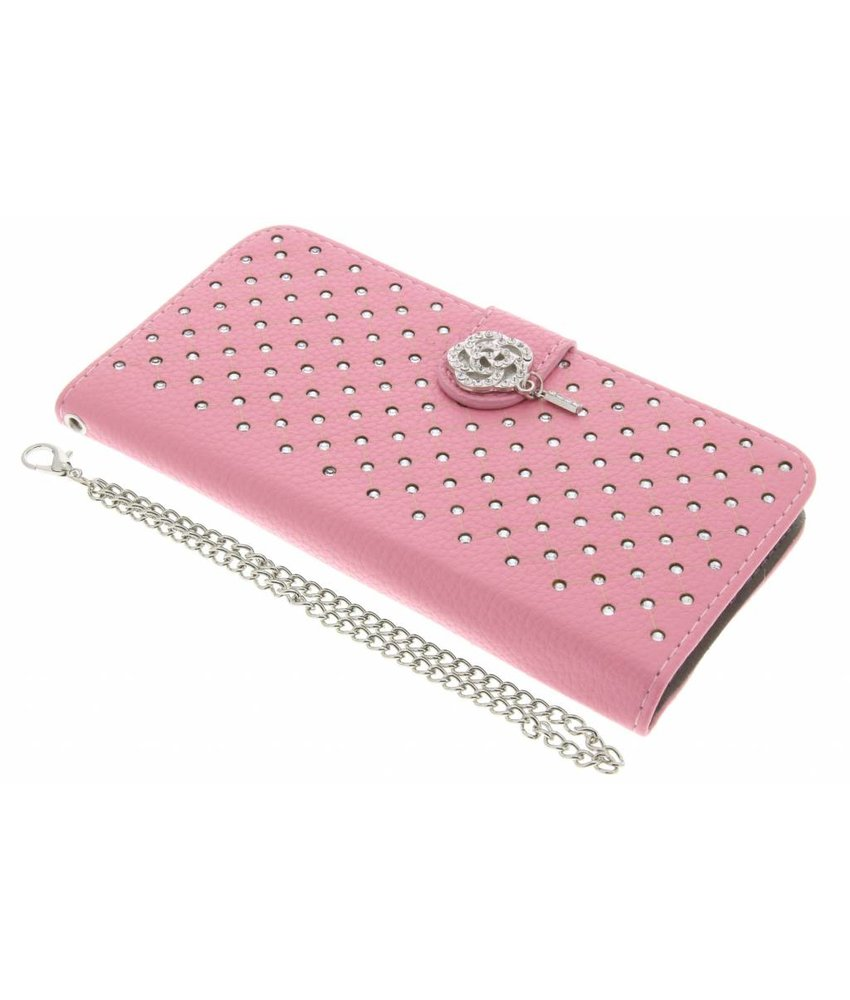 Roze chique strass booktype hoes Huawei P10