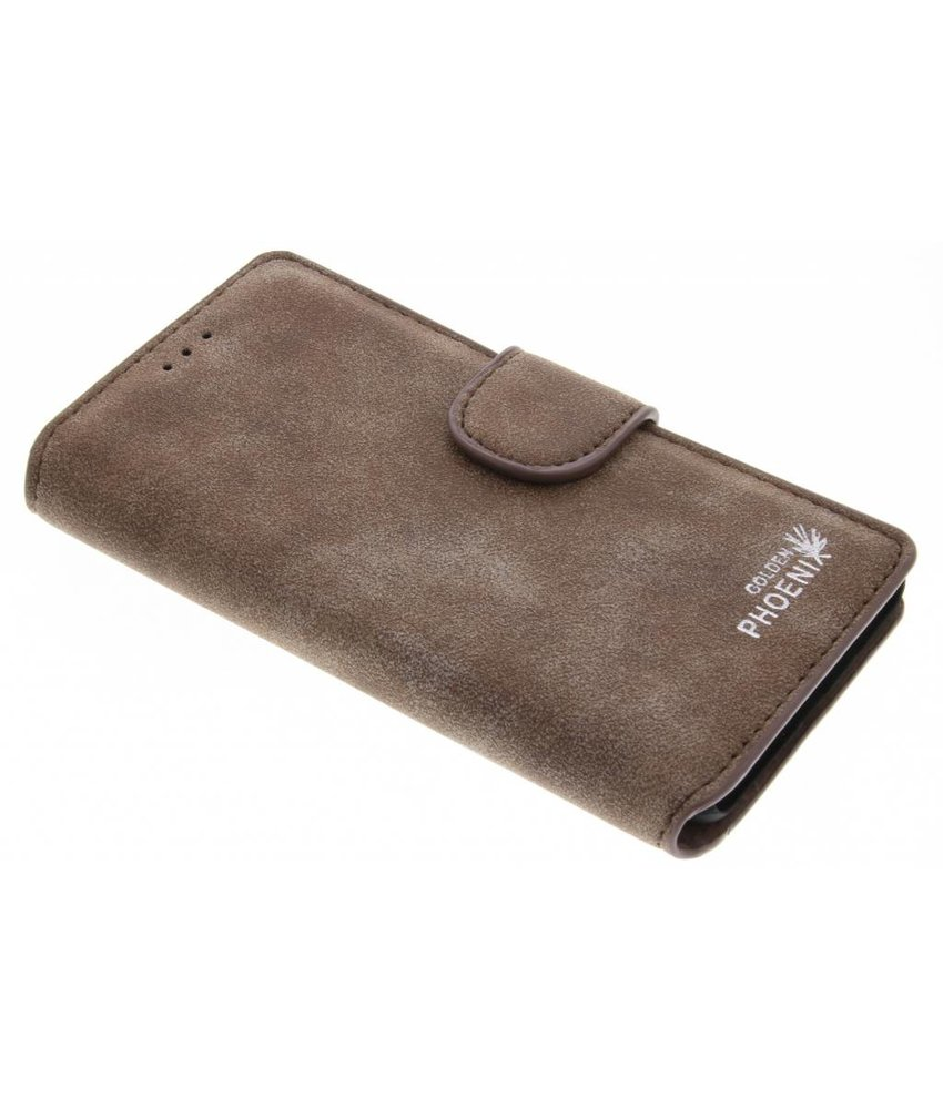 Bruin luxe suède booktype hoes OnePlus 3 / 3T