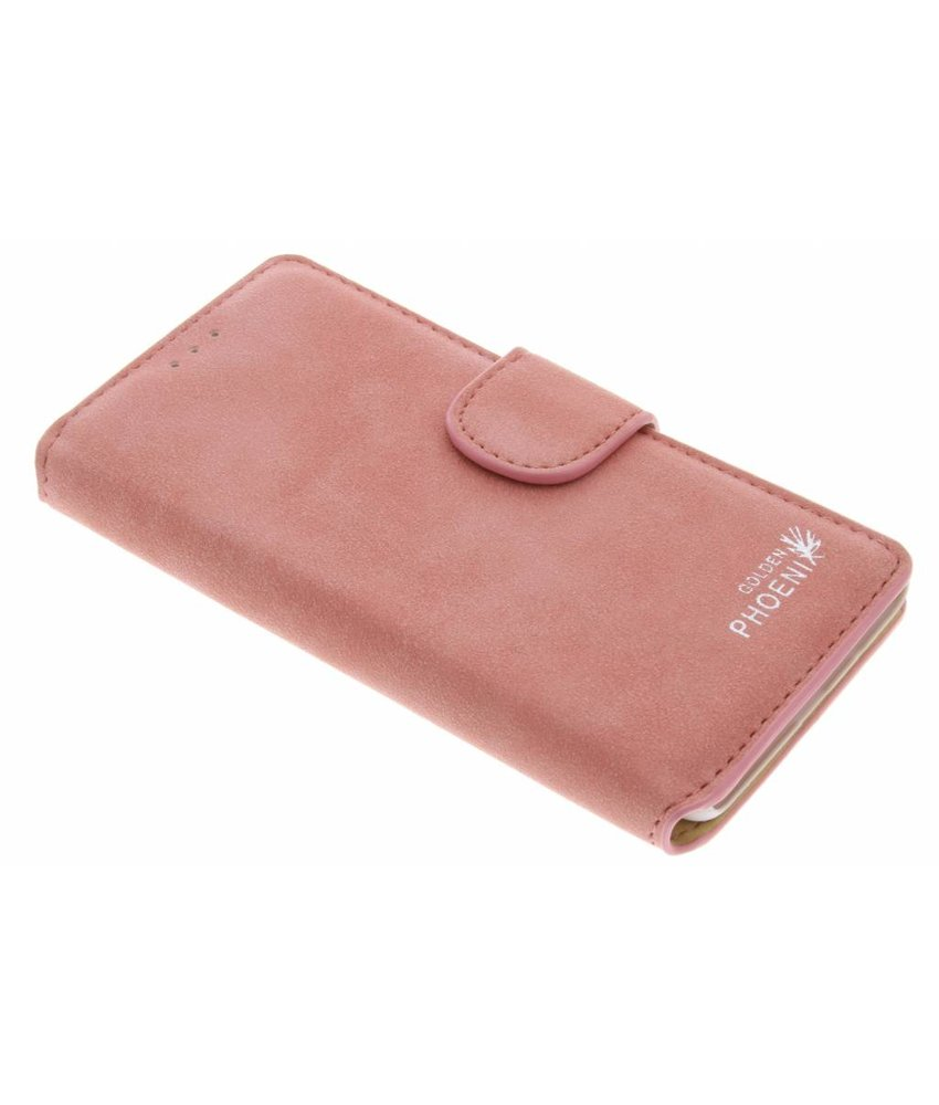 Roze luxe suède booktype hoes OnePlus 3 / 3T