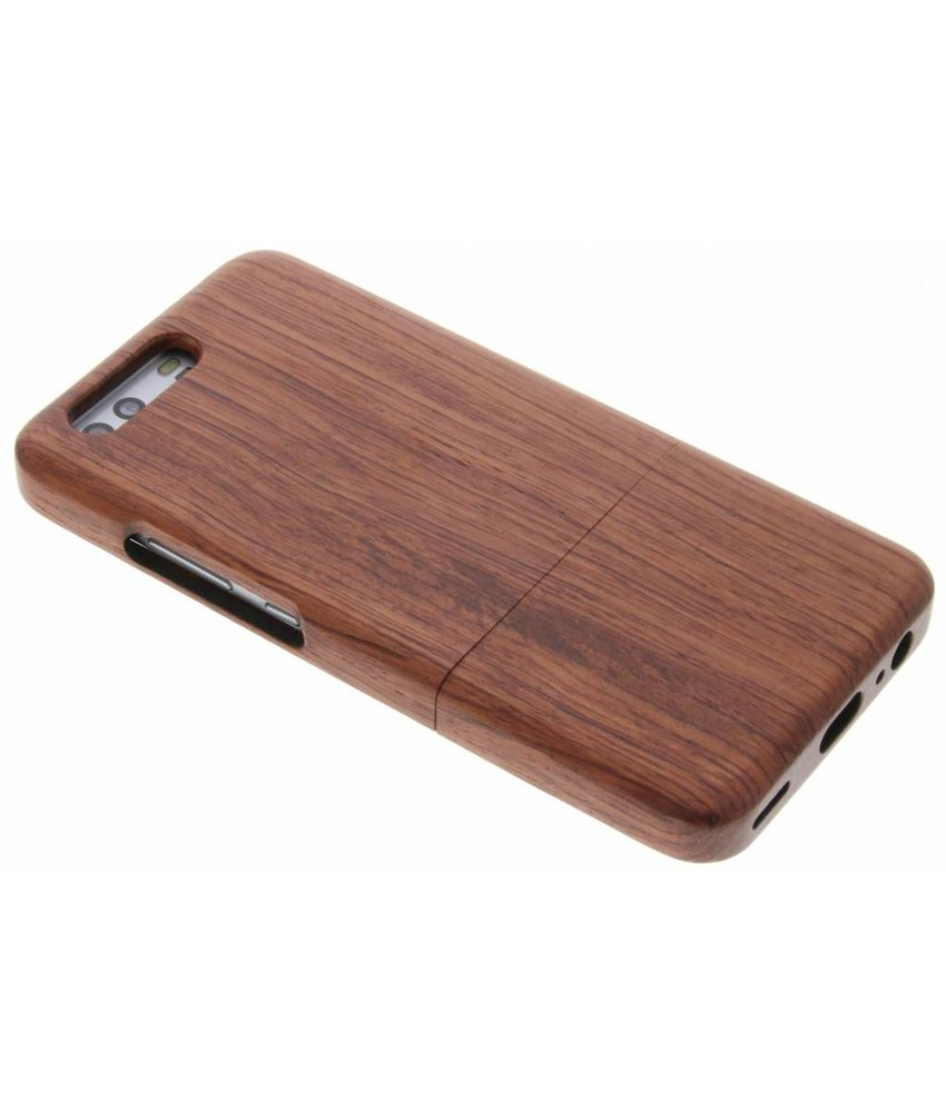 Donkerbruin echt houten hardcase hoesje Huawei P10
