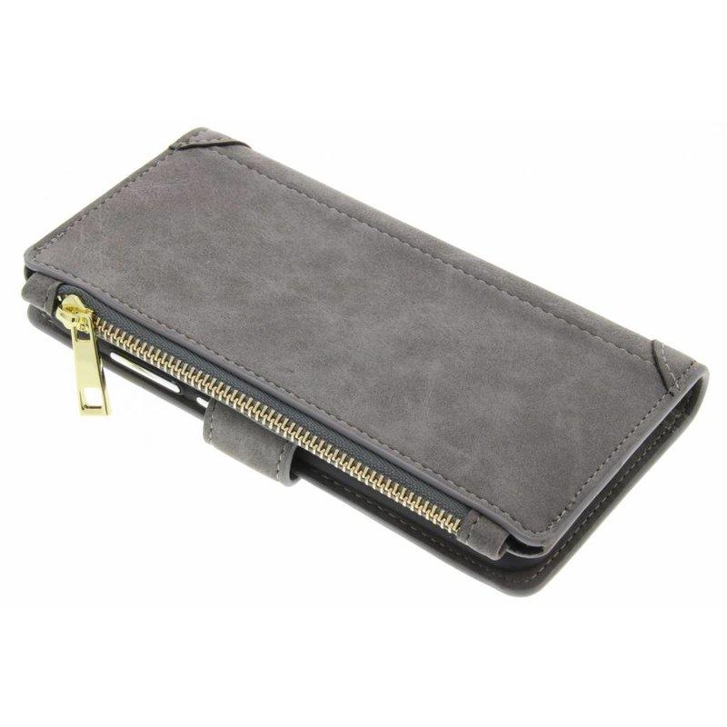 Grijs luxe portemonnee hoes Huawei P10 Lite