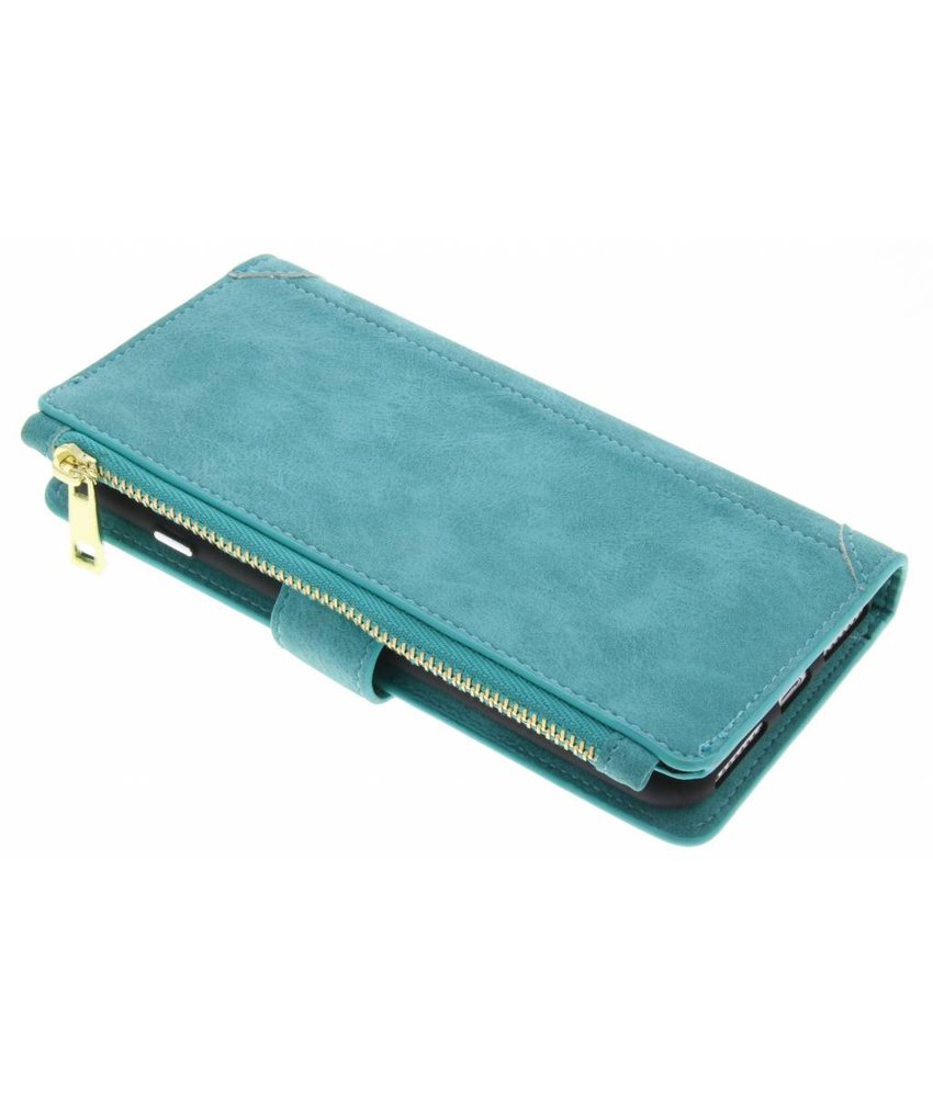 Turquoise luxe portemonnee hoes iPhone 8 Plus / 7 Plus