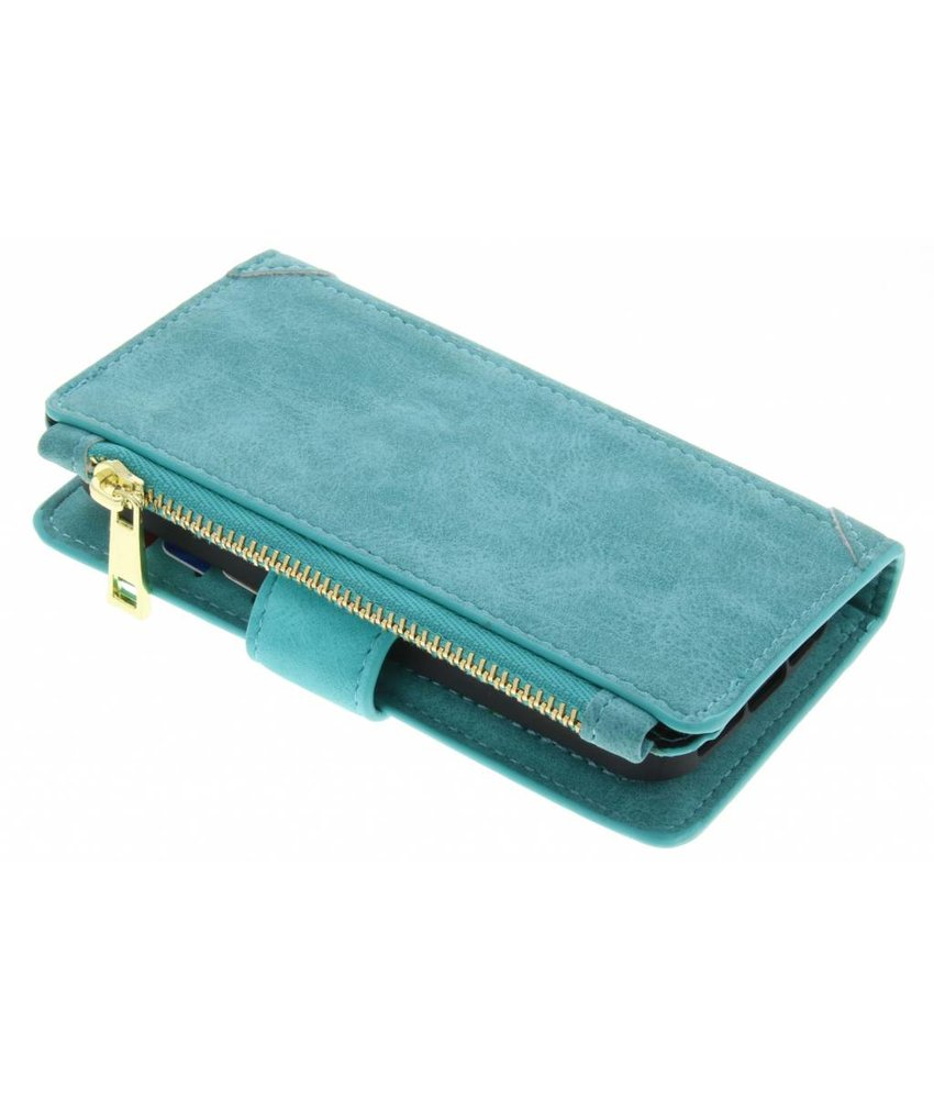 Turquoise luxe portemonnee hoes iPhone 5 / 5s / SE