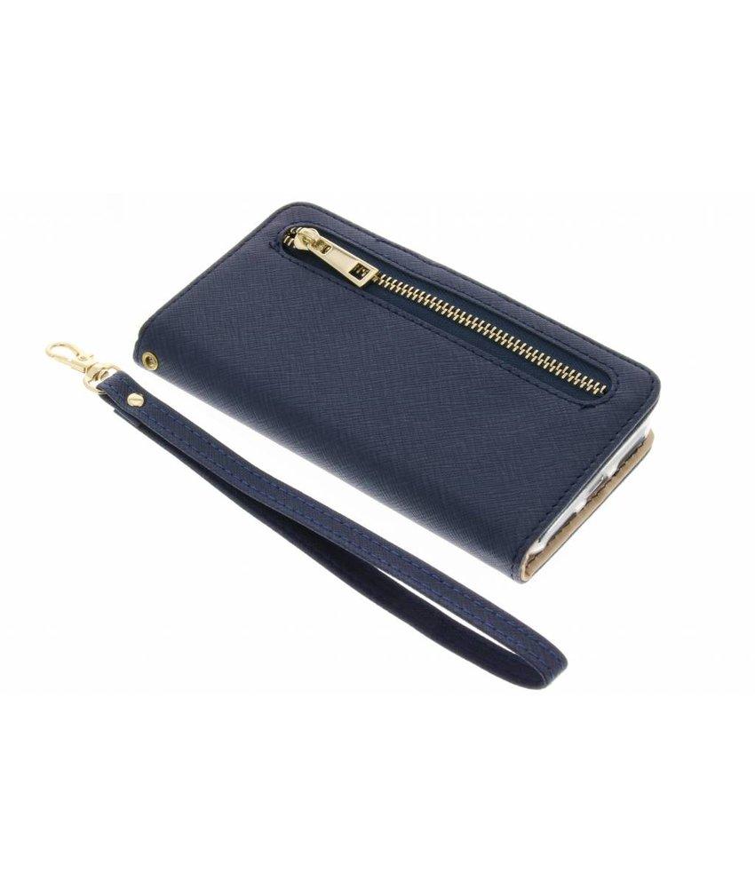 Blauw luxe booktype met rits iPhone 8 / 7