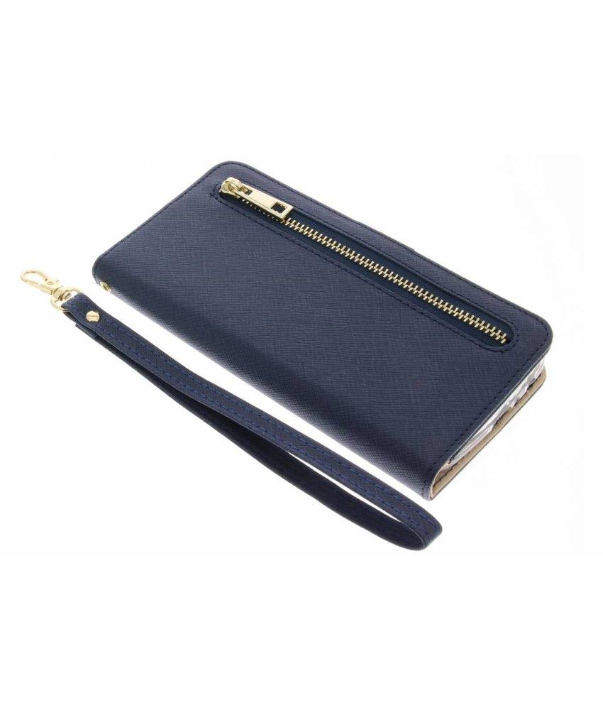 Blauw luxe booktype met rits iPhone 8 Plus / 7 Plus
