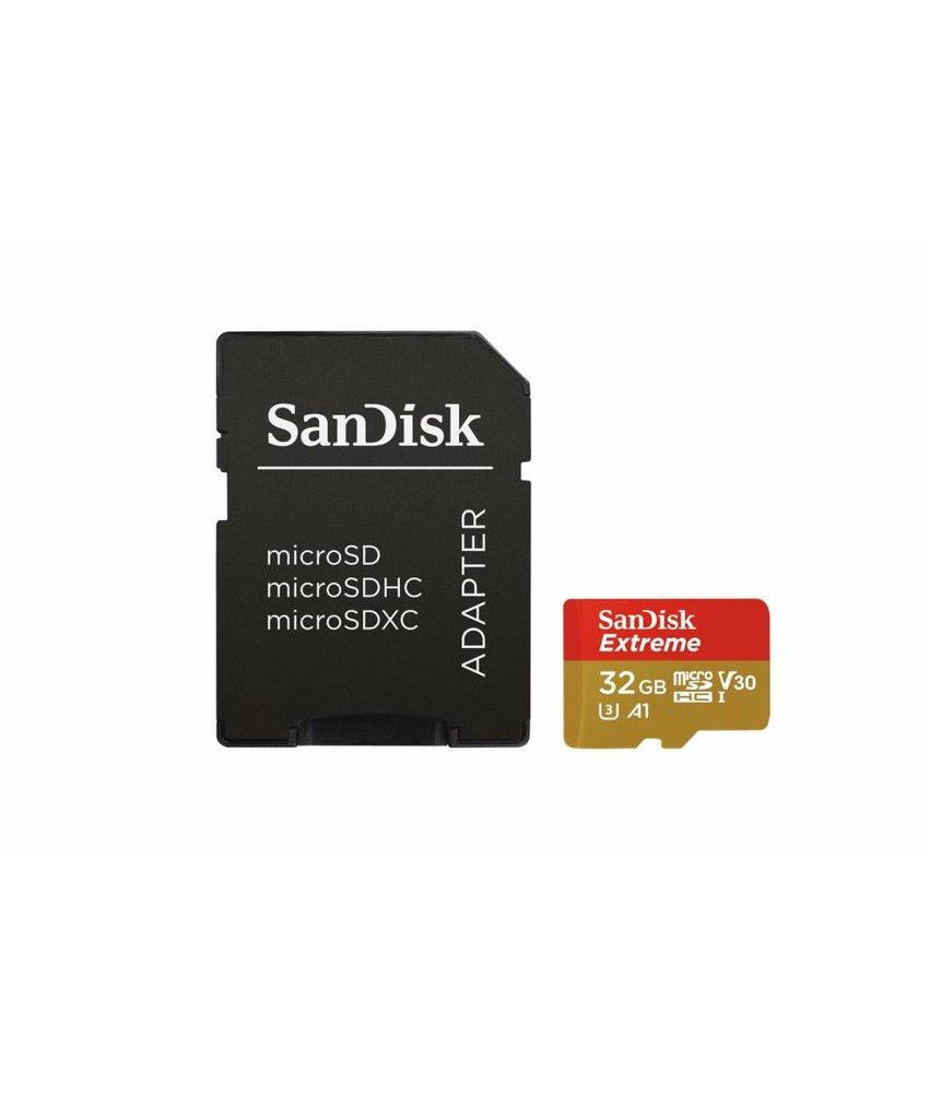 SanDisk 32GB Extreme microSDHC geheugenkaart klasse 10 + adapter
